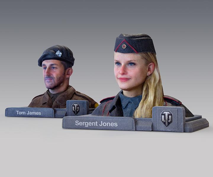 Отпечатанные на 3D принтере лица на фигурках из World of Tanks